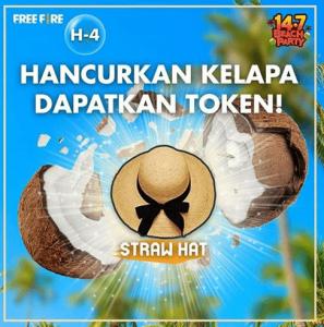 cara mendapatkan straw hat free fire topi pantai token