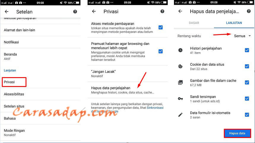 cara clear cache logout wifi id