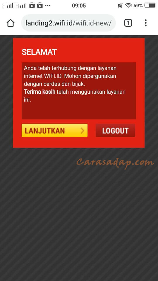 logout wifi id di hp via browser