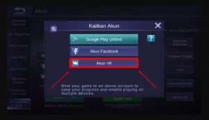 Menautkan Mobile Legends ke akun VK